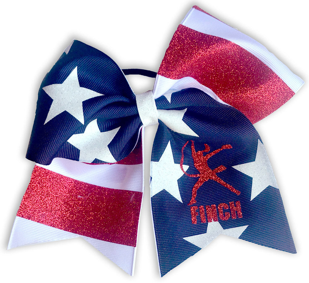 USA Flag Finch Logo Hair Bow