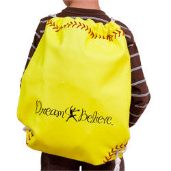 Neon Yellow Softball Drawstring Bag (Dream & Believe)