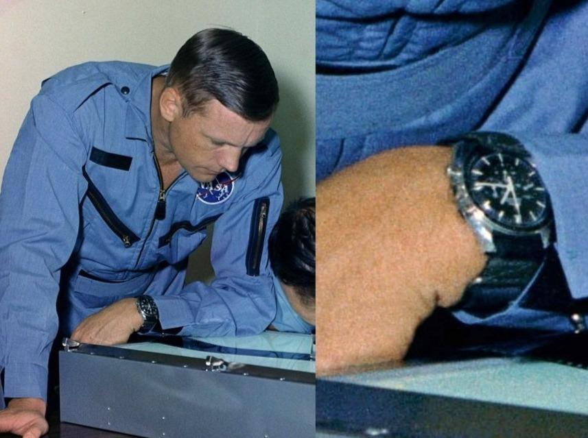 Apollo 11 Astronaut Neil Armstrong wearing a long NASA watch strap for Omega Speedmaster-P/N SEB12100030-202-Kizzi Precision Flightgear