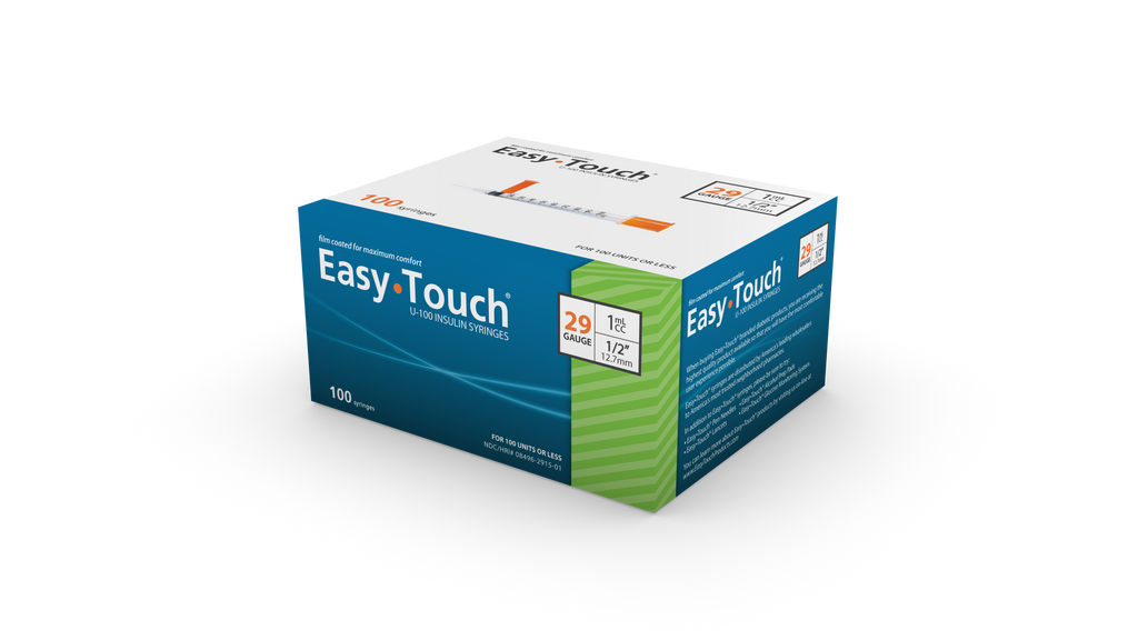 "EasyTouch <br> 100 Safety Syringes<br>29G | 1CC | 1/2 ""<br>NDC: 08496-0117-01"