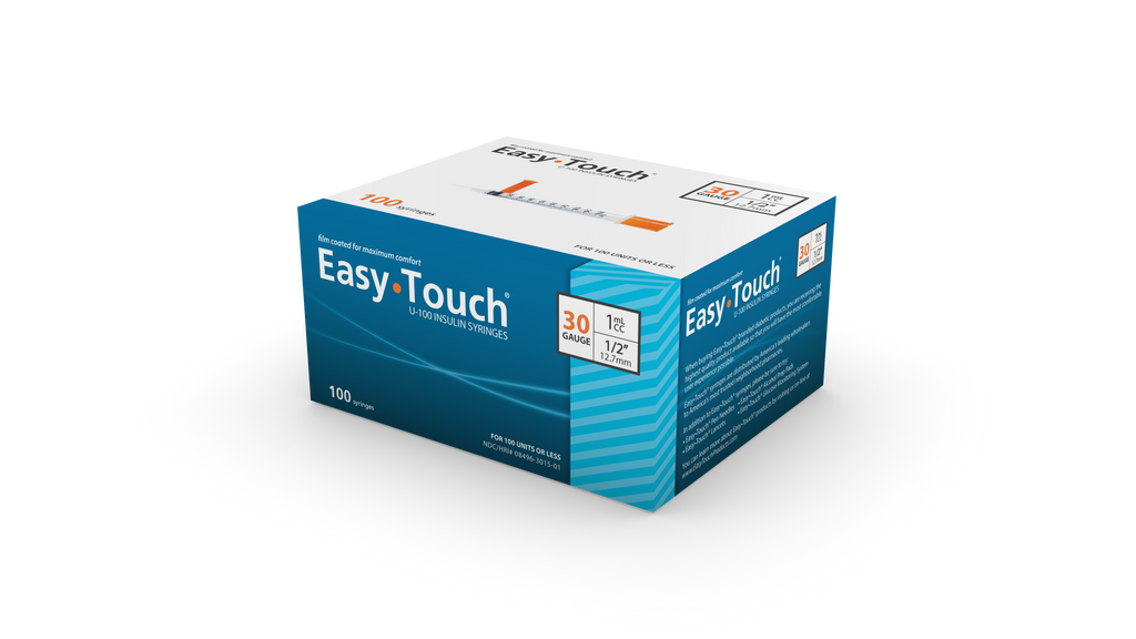 "EasyTouch<br> 100 Safety Syringes<br> 30G | 1CC | 1/2""<br>NDC: 08496-0119-01"