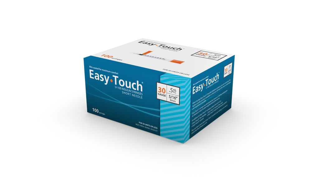 "EasyTouch <br> 100 Safety Syringes<br>30G | .5CC | 5/16""<br>NDC: 08496-0118-01"