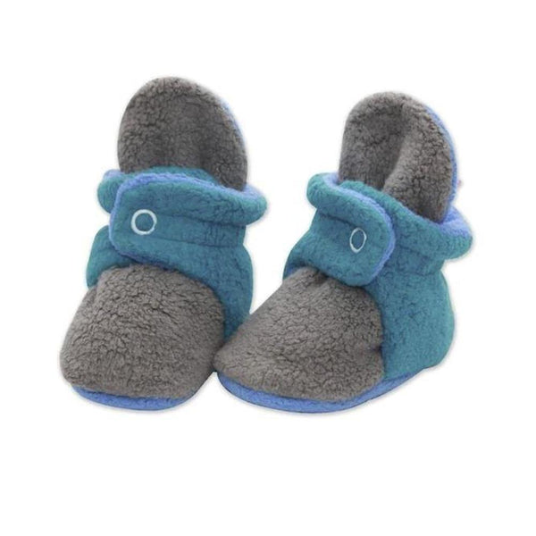 Zutano Baby Booties <br> Tri-Color Gray/Pagoda/Periwinkle