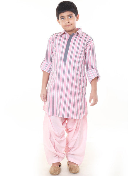 Pink and Grey pathani set.