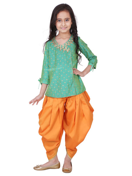 Indo western angrakha shirt with dhoti pants.