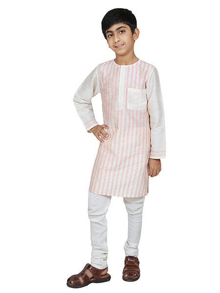 Designer ivory and peach kurta with churidar.