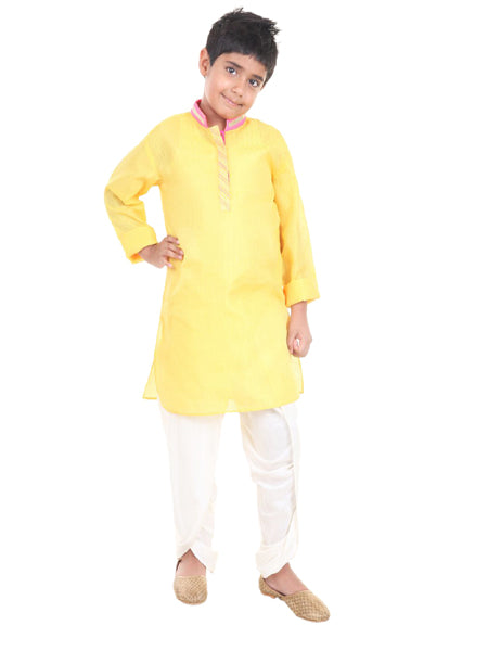 Yellow Silk Dhoti Kurta Set.