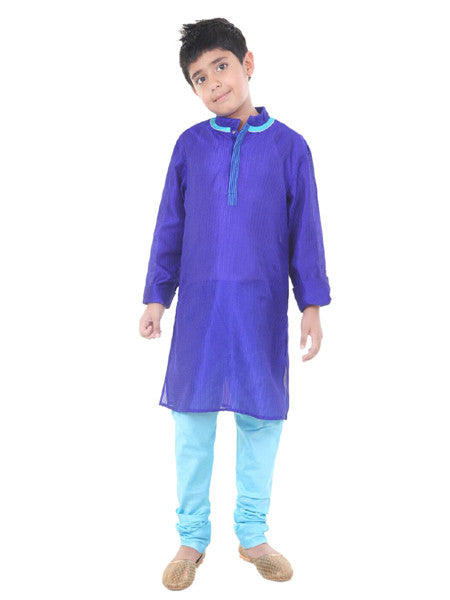 Blue silk kurta Churidar set.
