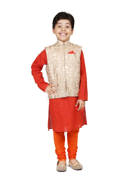 Foil print Nehru  jacket  with orange kurta  churidar.