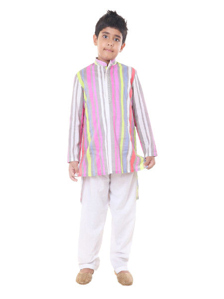 Colourful back long kurta set.
