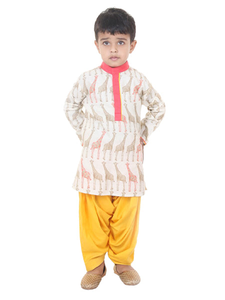 Ivory red printed kurta with yellow salwar.