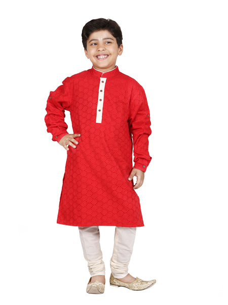 Cutwork cotton Red kurta set.
