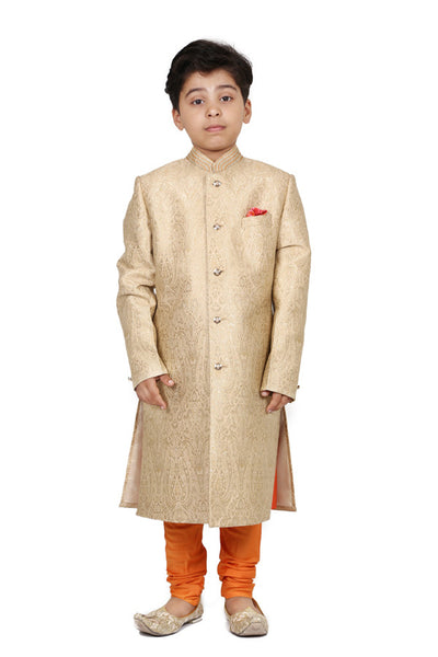 jacquard sherwani with kurta and churidar