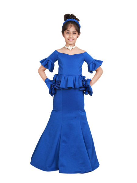 Blue fish-cut princess floor length gown.