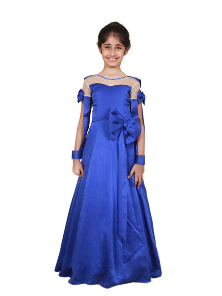 Blue princess floor length gown in satin.