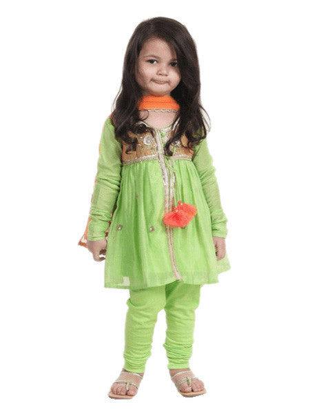 Indian gota work green embroided suit