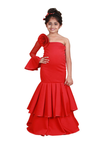 Red princess floor length multi-layered gown.