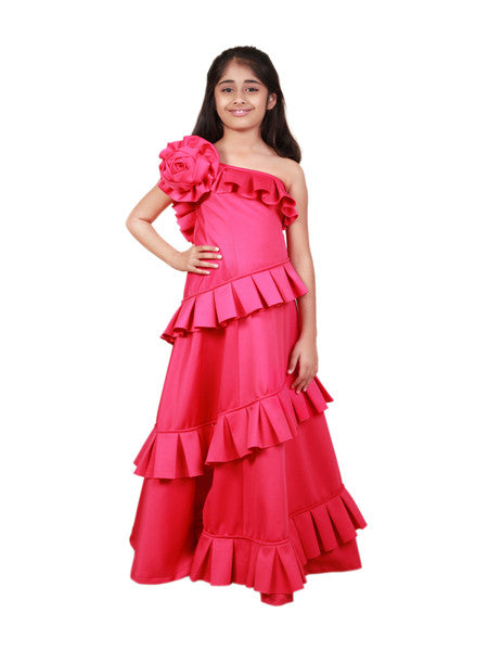Fuchsia princess floor length gown.