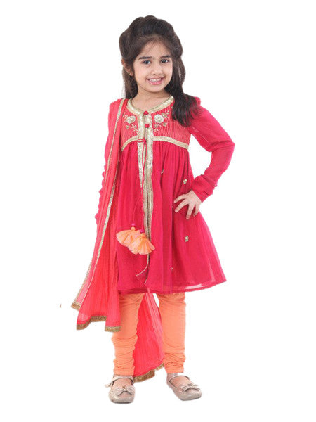 Indian gota work red embroided suit