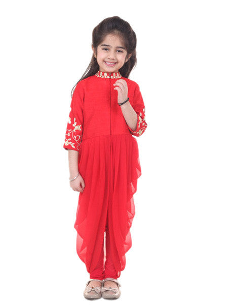 Indo western red outfit.