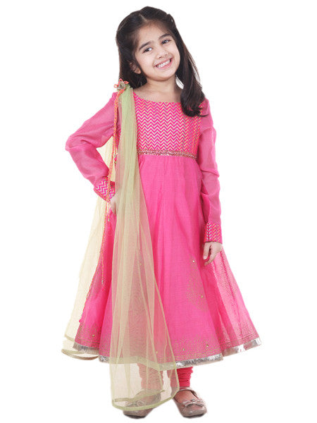Indian gota work gold printed pink suit