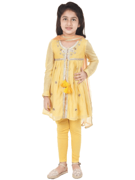 Indian gota work yellow embroided Suit