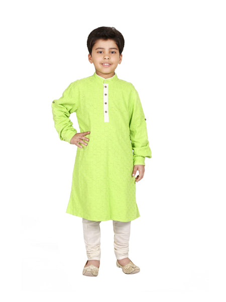 Cutwork cotton kurta set.