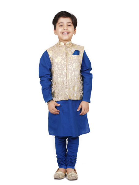 Foil print Nehru  jackrt  with  blue  kurta  churidar.