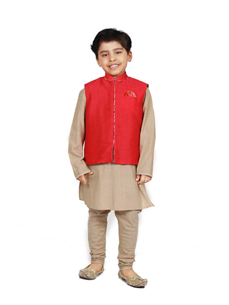 Raw silk red nehru jacket with gold cotton kurta churidar.