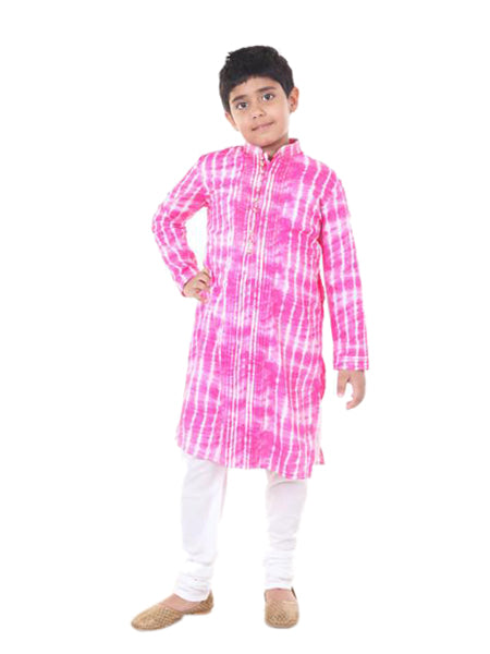 Pink tye and dye kurta set.
