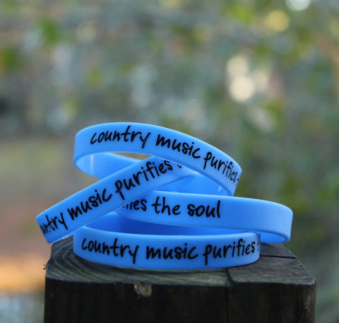 Country Music Purifies the Soul black on blue Wristband