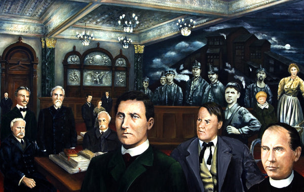 1902 Scranton PA. Antracite coal miners strike hearing by artist Trevor Goring
