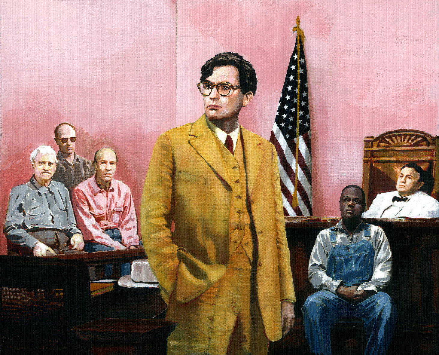 Atticus Finch argues against prejudice and bigotry. By artist Trevor Goring