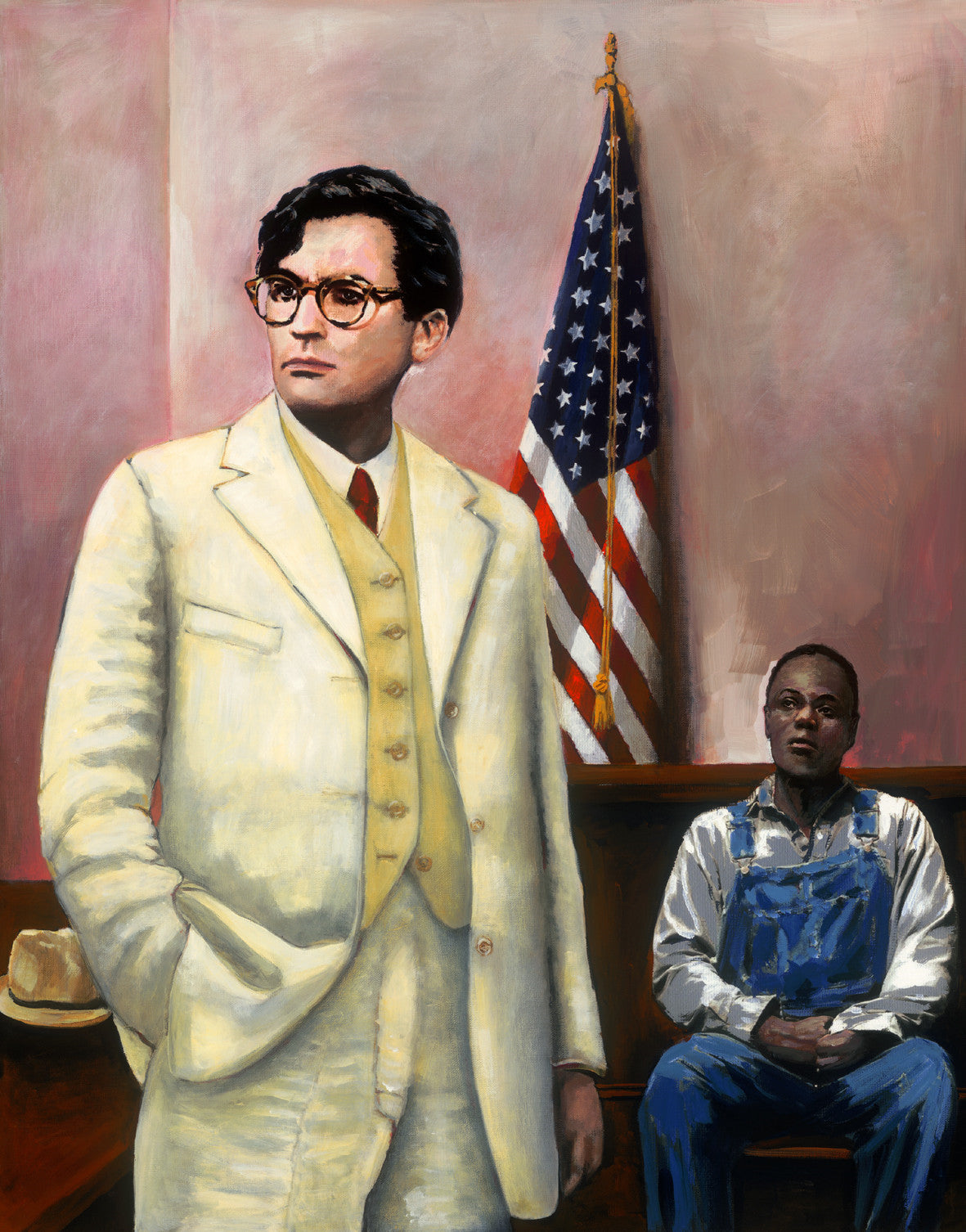 Atticus Finch defends Tom Robinson.To Kill a Mocking Bird by artist Trevor Goring