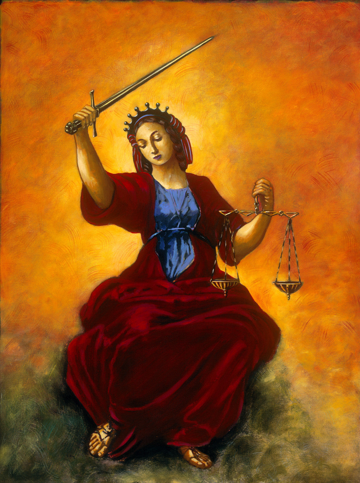 Classic Rennaissance image of justice after Raphael. by artist Trevor Goring