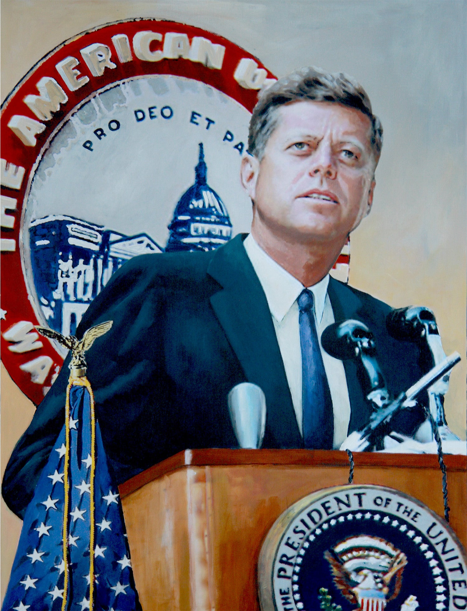 John F. Kennedy delivers his Strategy of Peace address. 1963 by artist Trevor Goring
