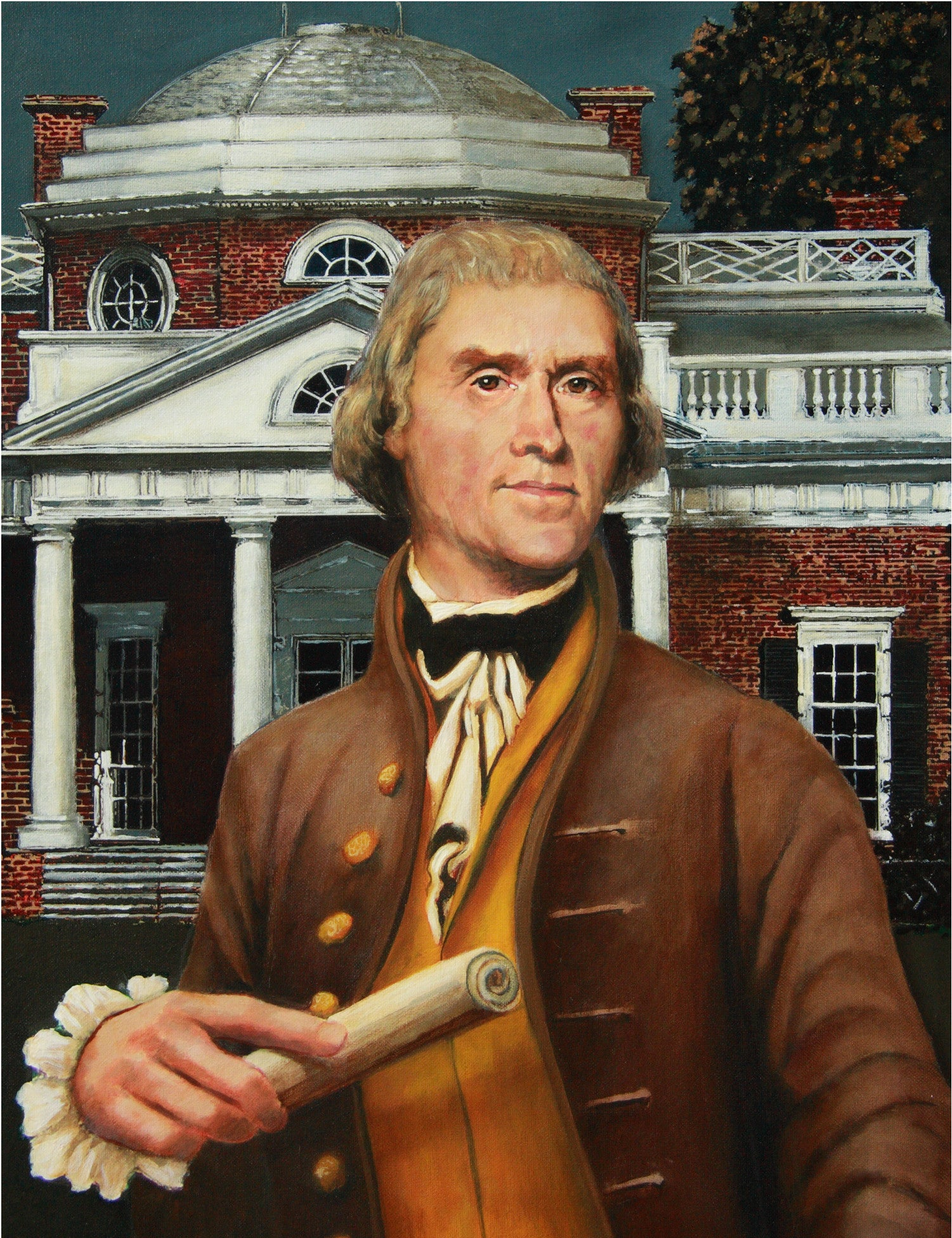 Thomas Jefferson in front of Monticello by artist Trevor Goring