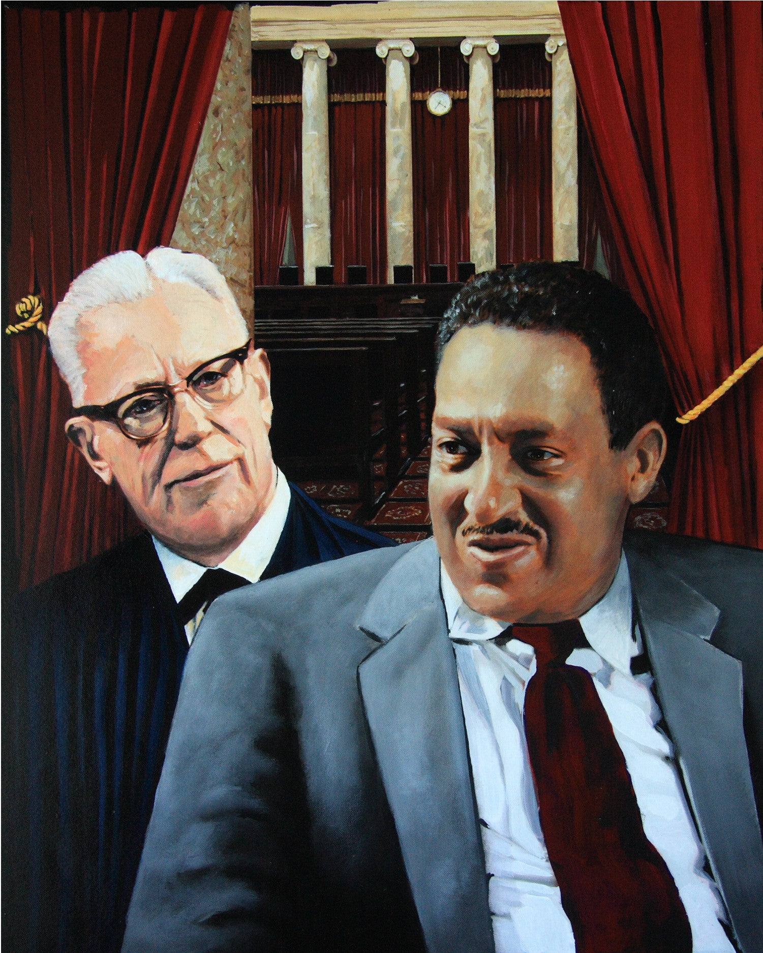 Thurgood Marshall with Earl Warren by artist Trevor Goring