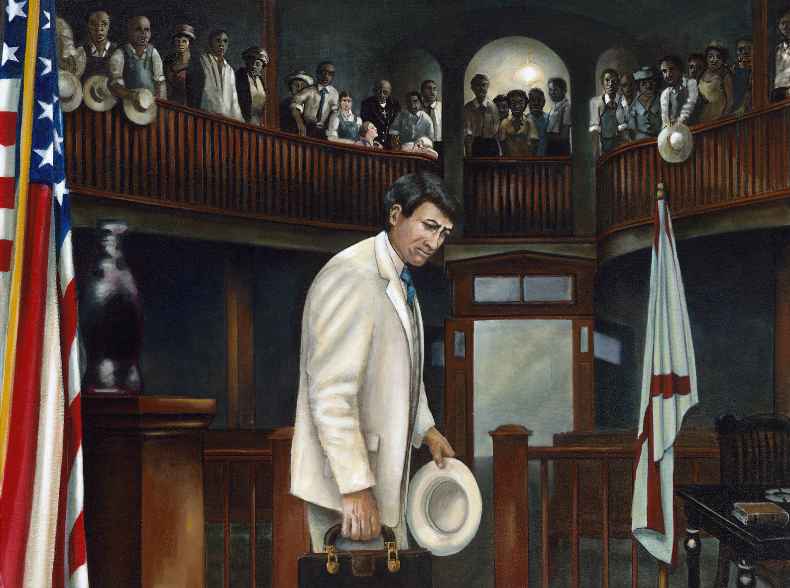 Atticus Finch leaves the Maycomb Courthouse by artist Trevor Goring