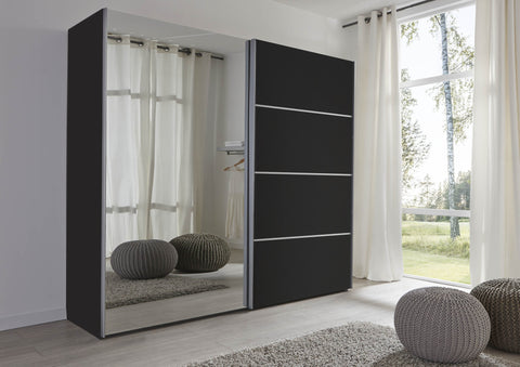 2 Door Mirror & Black Sliding Wardrobe