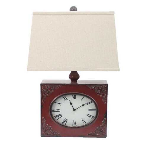 "Red, Vintage, Metal Clock Base - Table Lamp 7"" x 7"" x 22"""