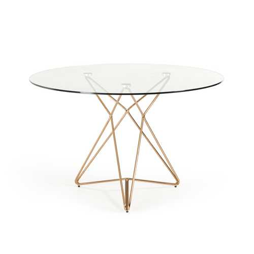 "30"" Glass and Steel Round Dining Table"