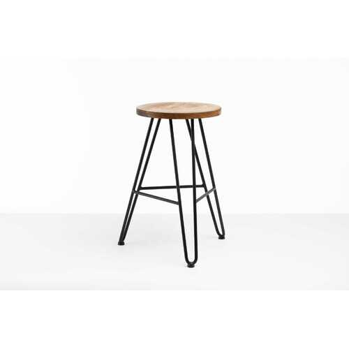"12"" X 12"" X 24"" Chocolate Ash Wood And Steel Round Counter Bar Stool"