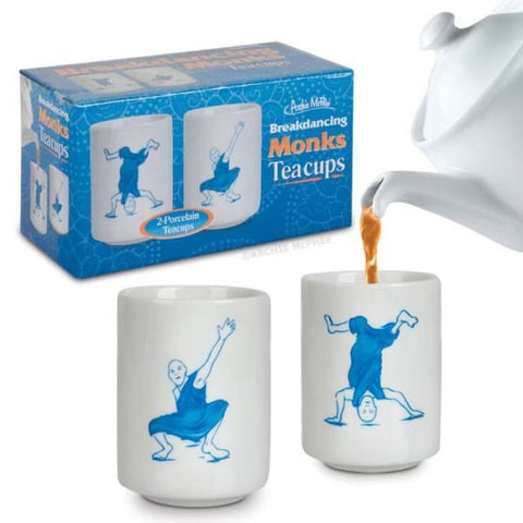Breakdancing Monks Teacups (Set Of 2) - Funny