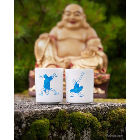 BREAKDANCING MONKS TEACUPS (Set of 2)