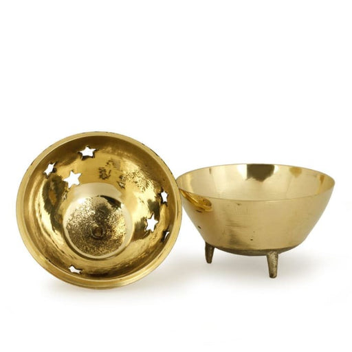"Burner - Brass Burner, 3 Legged Star Jali 3""Hx2.5""D - Urban Treehouse"
