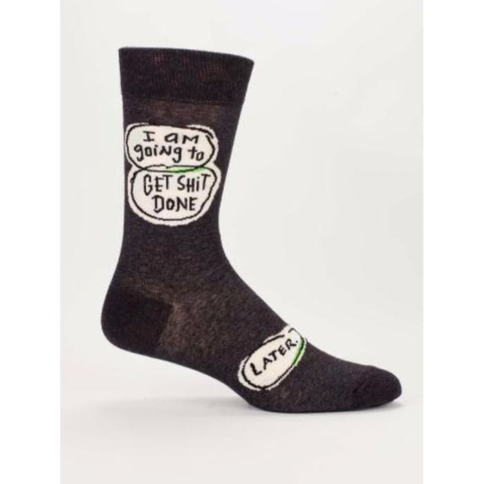 Get Shit Done Later Mens Socks - Apparel & Accessories