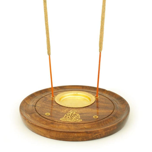 Incense Burner - Wooden Round Plate Buddha - 4 inches - Urban Treehouse