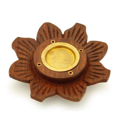 Incense Burner - Wooden Round Plate Lotus - 4 inches - Urban Treehouse