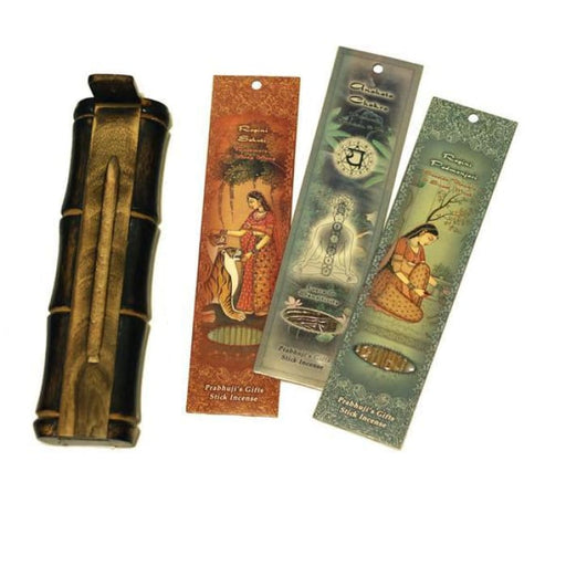 Incense Gift Set - Bamboo Burner + 3 Harmony Incense Packs for Romance & Love Greeting - Lost in Love - Urban Treehouse